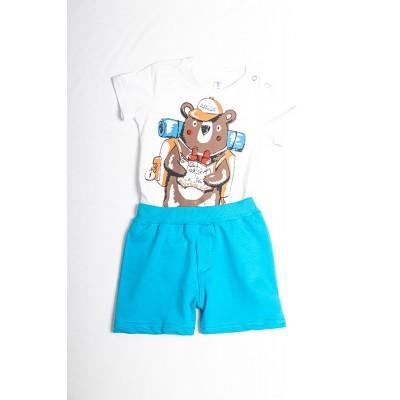 Σετ πυτζάμες bebe αγόρι με κορμάκι-ζιπουνάκι και βερμούδα μακό DREAMS 212066 λευκό/μπλε