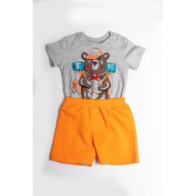 Σετ πυτζάμες bebe αγόρι με κορμάκι-ζιπουνάκι και βερμούδα μακό DREAMS 212066 γκρί/πορτοκαλί