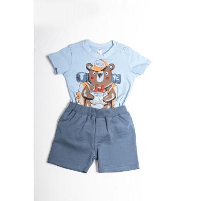 Σετ πυτζάμες bebe αγόρι με κορμάκι-ζιπουνάκι και βερμούδα μακό DREAMS 212066 σιελ