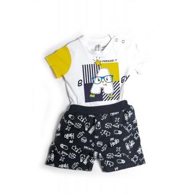 Σετ πυτζάμες bebe αγορι με κορμάκι-ζιπουνάκι και βερμούδα μακό DREAMS 212067 λευκό
