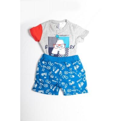 Σετ πυτζάμες bebe αγόρι με κορμάκι-ζιπουνάκι και βερμούδα μακό DREAMS 212067 γκρί