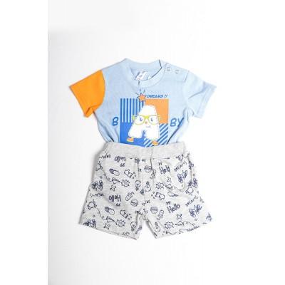 Σετ πυτζάμες bebe αγόρι με κορμάκι-ζιπουνάκι και βερμούδα μακό DREAMS 212067 σιέλ