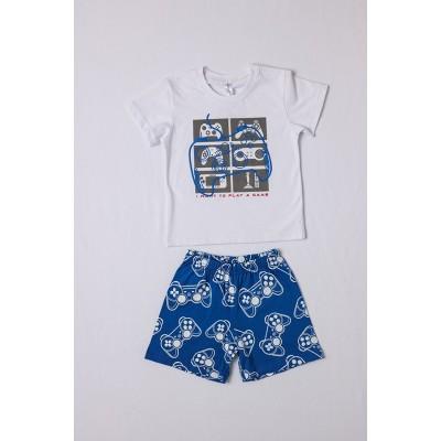 Σετ πυτζάμες αγόρι DREAMS 212304 λευκό/μπλέ ρουά