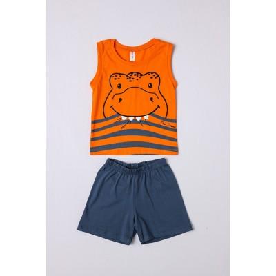 Σετ πυτζάμες αγόρι με αμάνικη μπλούζα DREAMS 212311 πορτοκαλί