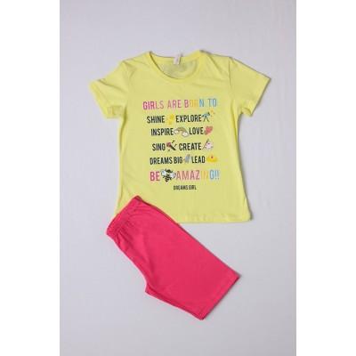 Σετ πυτζάμες για κορίτσι DREAMS 212503 κιτρινο