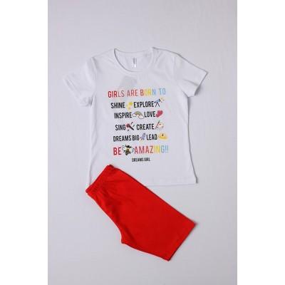Σετ πυτζάμες για κορίτσι DREAMS 212503 λευκό/κόκκινο