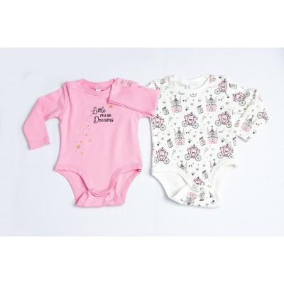 Σετ 2 ζιπουνάκια-κορμάκια μακρύ μανίκι για κορίτσι DREAMS 217025 ροζ/λευκό