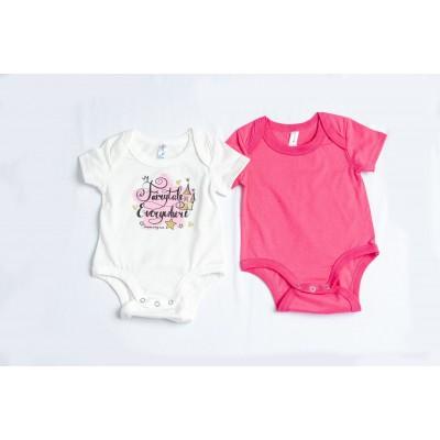 Σετ 2 ζιπουνάκια-κορμάκια ( εσώρουχο) για μωρό DREAMS 217026 λευκό/φούξια