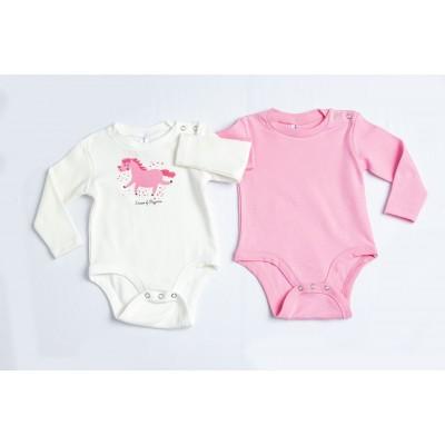 Σετ δύο ζιπουνάκια μακρύ μανίκι bebe DREAMS 217027 λευκό-ροζ