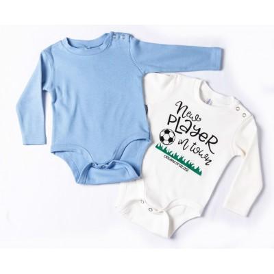 Σετ δύο ζιπουνάκια-κορμάκια (εσώρουχο) για μωρό, μακρύ μανίκι DREAMS 217071 λευκό-σιέλ