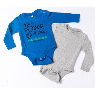 Σετ δύο ζιπουνάκια-κορμάκια (εσώρουχο) για μωρό, μακρύ μανίκι DREAMS 217071 μπλέ ρουά-γκρί