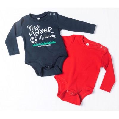 Σετ δύο ζιπουνάκια-κορμάκια (εσώρουχο) για μωρό, μακρύ μανίκι DREAMS 217071  μπλέ-κόκκινο