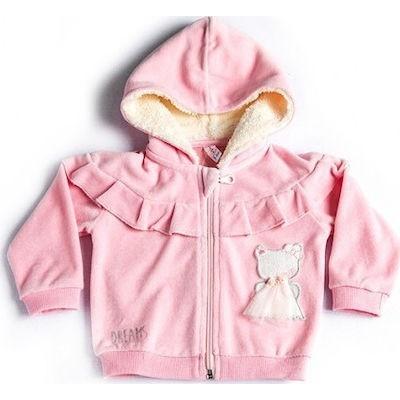 Ζακέτα βελουτέ bebe κορίτσι DREAMS 19531 ροζ