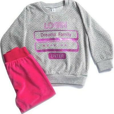 Σετ πυτζάμες βελουτέ κορίτσι DREAMS 202800 γκρι