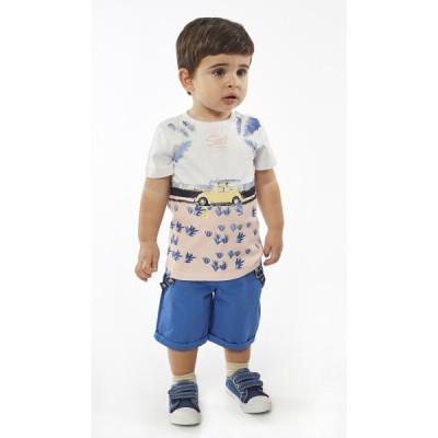 Σετ αγόρι με βερμούδα ύφασμα HASHTAG 214610 λευκό/μπλε