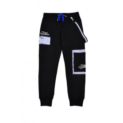 Παντελόνι φόρμα φούτερ για αγόρι HASHTAG 215762 μαύρο