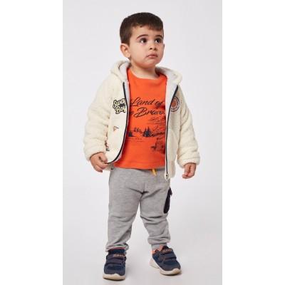 Σετ 3τμχ για αγόρι ζακέτα, μπλούζα και φόρμα παντελόνι HASHTAG 215638 εκρού/πορτοκαλί/γκρί