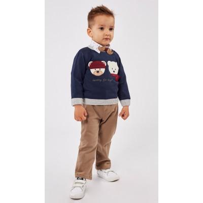 Σετ 3τμχ πουκάμισο, πλεκτή μπλούζα, παντελόνι και παπιόν HASHTAG 215614 μπλε-μπεζ