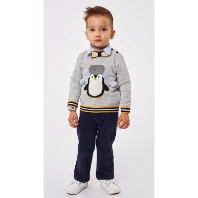Σετ 3τμχ για αγόρι πλεκτή μπλούζα, πουκάμισο και παντελόνι HASHTAG 215637 γκρί/μαύρο