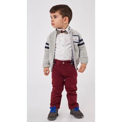 Σετ για αγόρι με ζακέτα,πουκάμισο και παντελόνι HASHTAG 215607 γκρί-μπορντώ