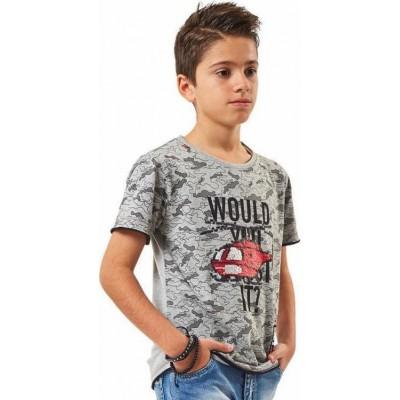 Μπλούζα αγόρι κοντό μανίκι HASHTAG 202761 γκρι