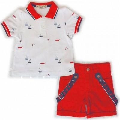 Σετ αγόρι HASHTAG λευκό/κόκκινο 214609