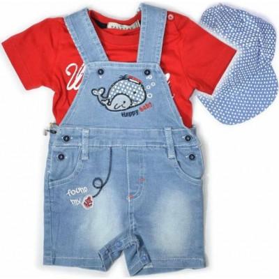Σετ αγόρι μπλούζα με σαλοπέτα τζην HASHTAG 214619 κόκκινο/μπλε