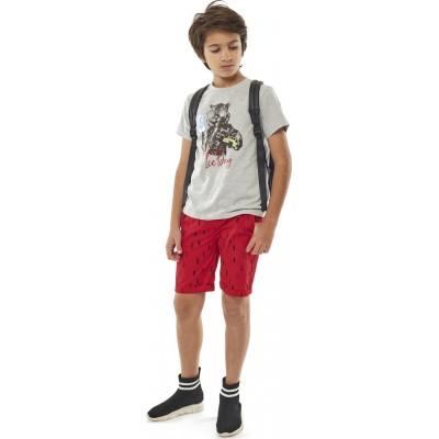 Σετ αγόρι μπλούζα με βερμούδα ύφασμα HASHTAG 214734 γκρί/κόκκινο