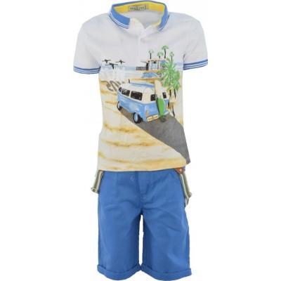 Σετ αγορι μπλούζα με βερμούδα ύφασμα HASHTAG 214820 λευκο/σιελ
