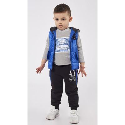 Σετ 3τμχ φόρμα για αγόρι με αμάνικο μπουφάν με κουκούλα HASHTAG 203817 μπλέ ρουά