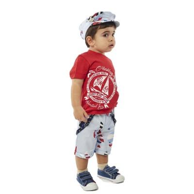 Σετ αγόρι μπλούζα με βερμούδα HASHTAG 214618 κόκκινο/σιελ
