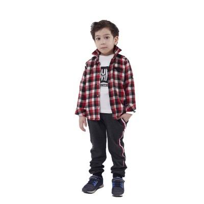 Σετ 3 τμχ για αγόρι HASHTAG καρώ κόκκινο/μαύρο 215818