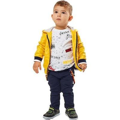 Σετ αγόρι εποχιακο 3τμχ μπουφάν, κοντό μανίκι μπλούζα και παντελόνι καπαρντίνα hashtag 202604 κίτρινο