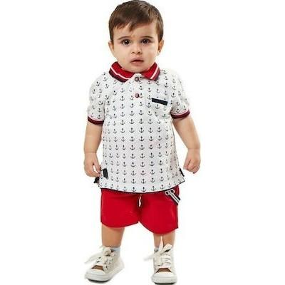 Σετ αγόρι μπλούζα με γιακά και καμπαρντίνα βερμούδα με τιραντες HASHTAG 202615 κοκκινο