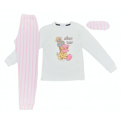 Σετ πυτζάμες για κόριτσι Hommies by EBITA & HASHTAG λευκό/ροζ Η-115
