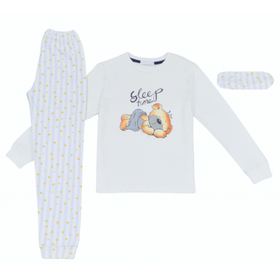 Σετ πυτζάμες για αγόρι και μάσκα ύπνου Hommies by EBITA & HASHTAG λευκό/σιέλ Η-116