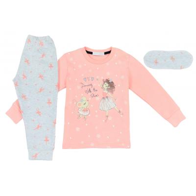 Σετ πυτζάμες για κορίτσι και μάσκα ύπνου Hommies by EBITA & HASHTAG ροζ Η-102
