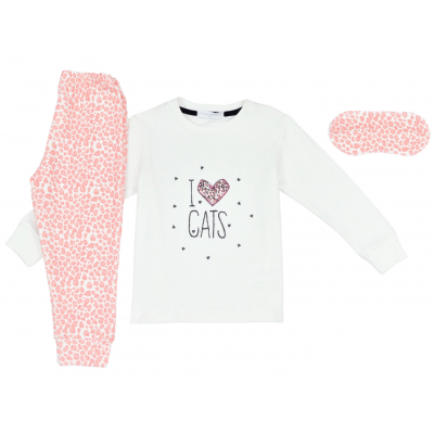 Σετ πυτζάμες για κορίτσι και μάσκα ύπνου Hommies by EBITA & HASHTAG εκρού/ροζ η-106