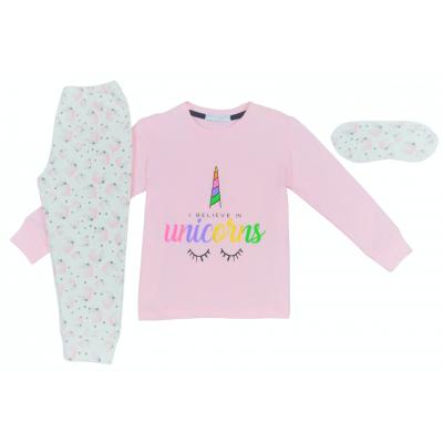 Σετ πυτζάμες για κορίτσι και μάσκα ύπνου Hommies by EBITA & HASHTAG ροζ η-108