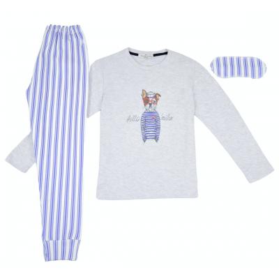 Σετ πυτζάμες για αγόρι και μάσκα ύπνου Hommies by EBITA & HASHTAG λευκό/σιελ Η-136