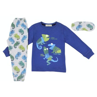 Σετ πυτζάμες για αγόρι και μάσκα ύπνου Hommies by EBITA & HASHTAG μπλέ/γκρί Η-123