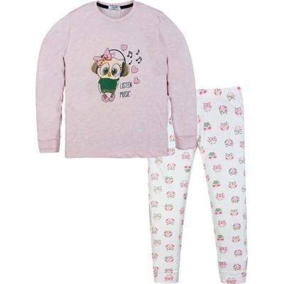 Σετ πυτζάμες για κόριτσι Hommies by EBITA & HASHTAG λευκό/ροζ Η-113