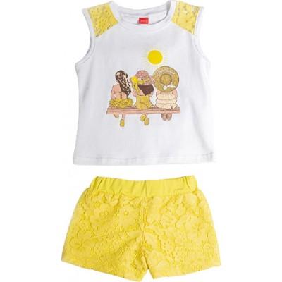 Σετ κορίτσι με σορτς JOYCE 211135 λευκό/κίτρινο