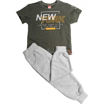 Σετ αγόρι κοντό μανίκι μπλούζα και μακρύ παντελόνι φόρμα JOYCE 211357 λαδί/γκρί