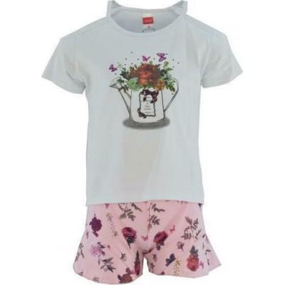 Σετ κορίτσι μπλούζα με σορτς JOYCE 211140 λευκό/ροζ