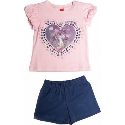 Σετ κορίτσι μπλούζα με σορτς JOYCE  211138 ροζ/μπλε