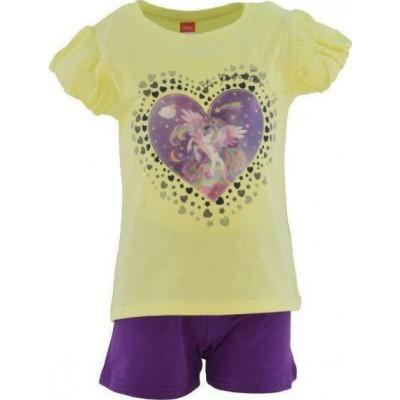 Σετ κορίτσι μπλούζα με σορτς JOYCE  211138  κίτρινο/μωβ