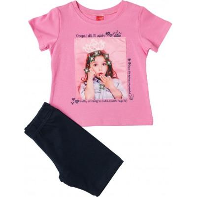 Σετ κορίτσι μπλούζα με κολάν JOYCE 211133 ροζ/μπλέ