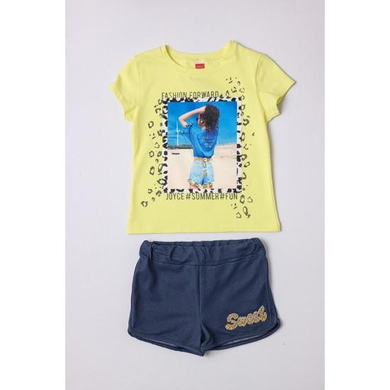 Σετ μπλούζα με κολάν JOYCE 211551 κίτρινο/μπλε