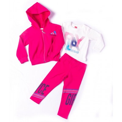 Σετ 3τμχ φούτερ για κορίτσι ζακέτα, μπλούζα και κολάν JOYCE 216101 φούξια
